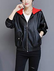 Для женщин На выход На каждый день Осень Зима Кожаные куртки Капюшон,Уличный стиль Однотонный Короткая Длинный рукав,Полиуретановая