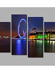 4 Panels Framed Famous Ferris Wheel Riverside Night Scene Painting Printed on Canvas For Livingroom Background Posters