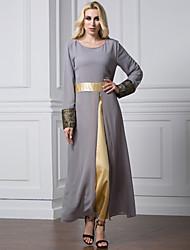 Plus size L-7XL Muslim women Long sleeve Patchwork chiffon Arab Dress Arab robes kaftan Malaysia fashion embroidery autumn clothing