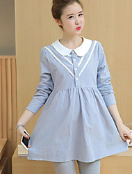 Women's Casual/Daily A Line Dress,Striped Shirt Collar Above Knee Long Sleeves Cotton Fall High Rise Inelastic Medium