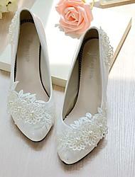 Mujer Zapatos de boda Talón Descubierto Encaje Semicuero Primavera Otoño Boda Vestido Fiesta y Noche Aplique Perla de Imitación FlorTacón
