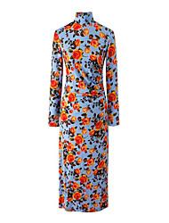 Для женщин Праздники На выход На каждый день Секси Простое Уличный стиль Оболочка Платье Цветочный принт,Воротник-стойка Средней длины
