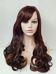 Long Wavy Wig Medium Golden Brown Glueless Synthetic Wig for Women