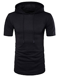 Men's Casual/Daily Simple Spring Summer T-shirt,Solid Hooded Short Sleeves Cotton