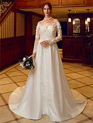 A-Line Off-the-shoulder Court Train Satin Tulle Wedding Dress with Appliques Flower(s) by LAN TING BRIDE®