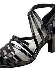 Women's Latin/Ballroom/Salsa Dance Shoes Leatherette Sandals Professional Buckle Customized Heel Black