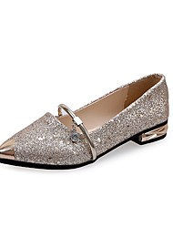 Women's Flats Comfort Light Soles Spring Fall Paillette Patent Leather Casual Dress Rhinestone Sequin Flat Heel Gold Black Silver Flat