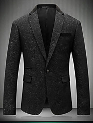 Men's Party/Cocktail Casual/Daily Work Simple Sophisticated Fall Winter Blazer,Solid Polka Dot Notch Lapel Long Sleeve Regular Cotton