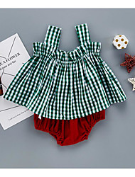 Baby Kids' Casual/Daily Plaid/Check Solid Color Clothing Set Summer