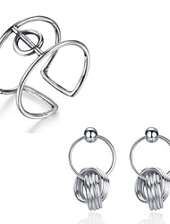 Beadia 925 Sterling Silver Jewelry Sets Adjustable Ring & Earrings For Women