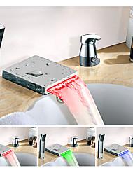 Changement de couleur Diffusion large Jet pluie Multi-teintes Mitigeur Trois trous Robinet lavabo