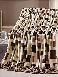 Coral fleece Geometric Polyester Cotton Blend Blankets