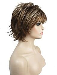 Mulher Perucas sintéticas Sem Touca Curto Enrolado Castanho Claro 100% cabelo kanekalon Riscas Naturais Faux Locs Wig Peruca Natural
