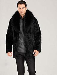 Для мужчин На каждый день Осень Зима Пальто с мехом Воротник Питер Пен,Простой Однотонный Длинная Длинный рукав,Мех рекса