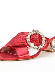 Women's Sandals Toe Ring Summer Fall Glitter Wedding Dress Party & Evening Crystal Imitation Pearl Sparkling Glitter Buckle Crystal Heel