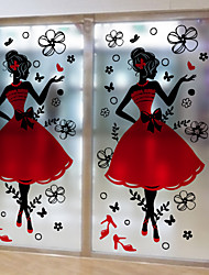 Window Film Window Decals Style Fashion Girl Grind Arenaceous PVC Window Film- (60 x 116)cm