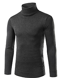 Men's Going out Casual/Daily Street chic Regular Pullover,Solid Turtleneck Long Sleeve Rayon Polyester Fall Winter Medium Stretchy