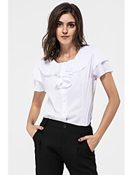 Women's Casual/Daily Simple Summer Shirt,Solid Round Neck Short Sleeves Rayon
