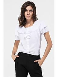 Для женщин На каждый день Лето Рубашка Круглый вырез,Простое Однотонный С короткими рукавами,Искусственный шёлк