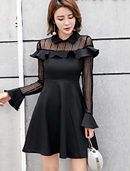 Women's Going out A Line Dress,Solid Floral Shirt Collar Above Knee Long Sleeves Polyester Spring High Rise Micro-elastic Medium