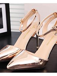 Для женщин Обувь на каблуках Удобная обувь Туфли лодочки Натуральная кожа Полиуретан Лето Повседневные Золотой Серебряный Серый9,5 - 12
