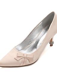 Women's Wedding Shoes Comfort Basic Pump Spring Summer Satin Wedding Dress Party & Evening Rhinestone Bowknot Sparkling Glitter Flower