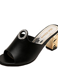 Women's Slippers & Flip-Flops Comfort PU Summer Casual Walking Pearl Chunky Heel Yellow Black White 2in-2 3/4in