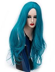 Mujer Pelucas sintéticas Sin Tapa Largo Liso Castaño dorado Plata Rojo Azul Púrpura brillante Peluca natural Peluca de Halloween Peluca