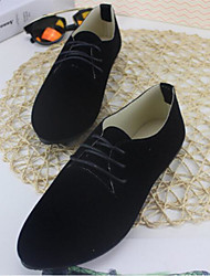 Damen Schuhe Echtes Leder PU Frühling Sommer Komfort Outdoor Für Normal Schwarz Grau Rot