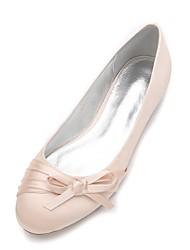 Mujer Zapatos de boda Confort Bailarina Satén Primavera Verano Boda Vestido Fiesta y Noche Pajarita Flor de Satén Flor Tacón PlanoMorado