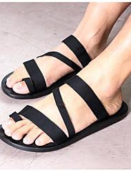 Men's Sandals Comfort Denim Summer Casual Black Flat