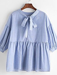 Women's Casual/Daily Cute Street chic Spring Summer Shirt,Striped V Neck 3/4 Length Sleeve Cotton Thin