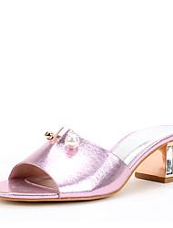 Для женщин Сандалии Обувь через палец Лак Лето Осень Свадьба Для праздника Для вечеринки / ужина Кристаллы Искусственный жемчуг ЛакКаблук