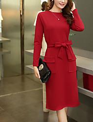 Mujer Vaina Vestido Tallas Grandes Noche Casual/Diario Simple Chic de Calle,Un Color Escote Redondo Midi Manga Larga Poliéster Primavera