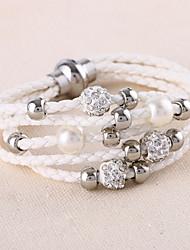 Men's Women's Leather Bracelet Wrap Bracelet Multi Layer Fashion Punk Simple Style Leather Rhinestone Circle Jewelry For Wedding Daily