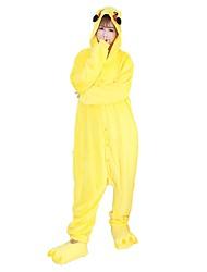 Kigurumi Pajamas Pika Pika Leotard/Onesie Shoes Festival/Holiday Animal Sleepwear Halloween Fashion Solid Color Embroidered Flannel Fabric With Shoes