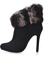 Femme Bottes Bottes à la Mode Velours Automne Hiver Habillé Soirée & Evénement Noir 10 à 12 cm