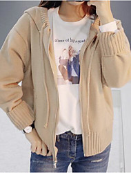 Women's Casual/Daily Regular Cardigan,Solid Hooded Long Sleeves Others Spring Winter Medium Micro-elastic