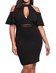 Women Plus Size Dress Off Shoulder Cut Out Chocker Butterfly Sleeve Pencil Bodycon Sexy One-Piece