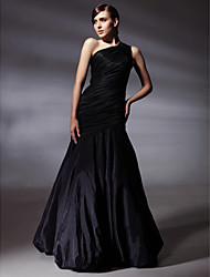 Mermaid / Trumpet One Shoulder Floor Length Taffeta Prom Formal Evening Dress with Side Draping by TS Couture®