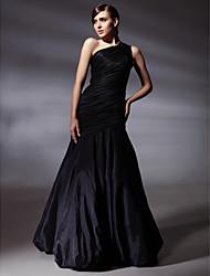 Trompeta / Sirena Un Hombro Hasta el Suelo Tafetán Baile de Promoción Evento Formal Vestido con Recogido Lateral por TS Couture®