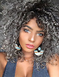 Synthetic Curly Wig Black Grey Ombre Hair Heat Resistant Kinky Curly Synthetic Women Wigs