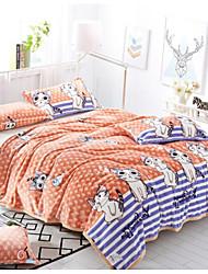 Coral fleece Animals Polyester Cotton Blend Blankets