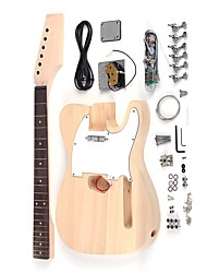 Tele Style Unfinished DIY Electric Guitar Kit Basswood Body Maple Neck Rosewood Fingerboard