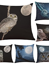 Set of 6  Novelty Owl Linen Cushion Cover Home Office Sofa Square Pillow Case Decorative Cushion Covers Pillowcases (18*18Inch)