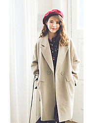 Women's Going out Street chic Winter Coat,Solid V Neck Long Sleeve Regular Wool