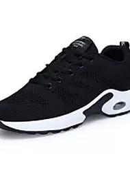Femme Chaussures d'Athlétisme Confort Tulle Eté Décontracté Marche Lacet Talon Plat Noir Rouge 5 à 7 cm