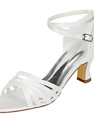 Women's Wedding Shoes Basic Pump Stretch Satin Summer Wedding Dress Bowknot Buckle Chunky Heel Ivory 2in-2 3/4in