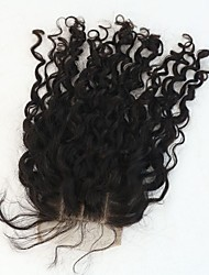 Vente chaude 100% cheveux humains fermeture à lacets droites3.5 * 4 avec nœuds blanchis pour bébé