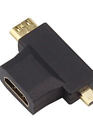 HDMI 1.4 Adaptateur, HDMI 1.4 to Mini HDMI Micro HDMI Adaptateur Mâle - Femelle Cuivre plaqué or